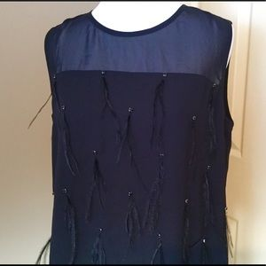 Vince Camuto sleeveless black feathered top NWOT 2